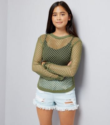 Teens Khaki Long Sleeve Mesh Top