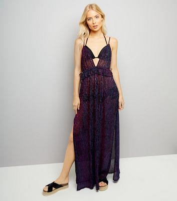 Purple Iridescent Frill Waist Maxi Dress