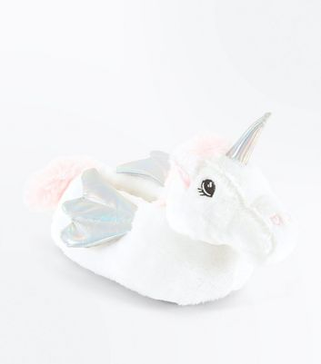 Teens White Unicorn Slippers