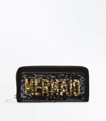 Black Sequin Mermaid Zip Around Purse