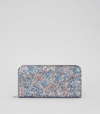 Multi-Coloured Glitter Zip Around Purse