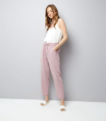 Lilac Tie Waist Woven Joggers