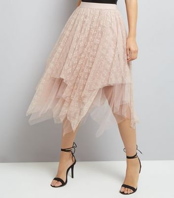 Shell Pink Layered Lace Hanky Hem Midi Skirt