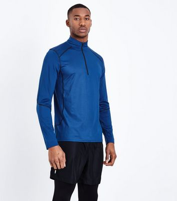 Blue Mesh Long Sleeve Sports Top