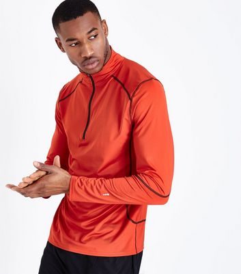 Red Mesh Long Sleeve Sports Top