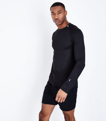 Black Long Sleeve Crew Neck Sports Top