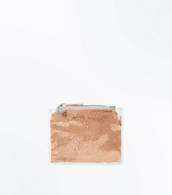 Rose Gold Glitter Transparent Zip Top Purse
