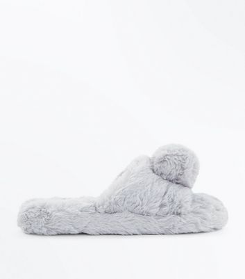 Teens Grey Faux Fur Pom Slippers