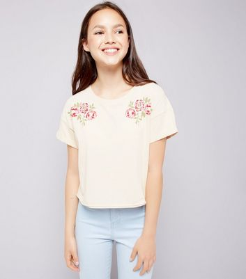 Teens Shell Pink Floral Print T-Shirt