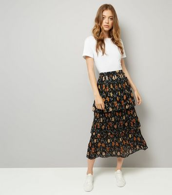 Black Floral Print Pleated 3 Tier Midi Skirt