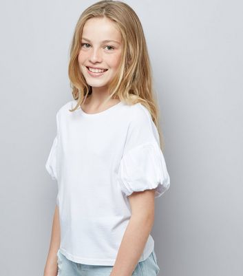 Teens White Puff Sleeve T-Shirt