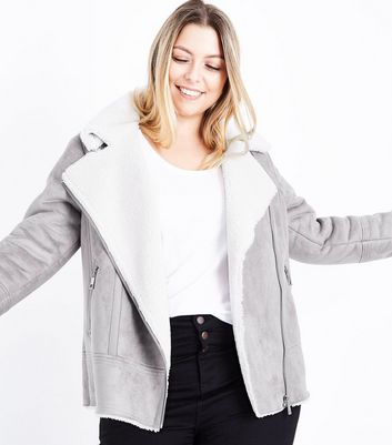 Curves Mink Faux Shearling Aviator Jacket