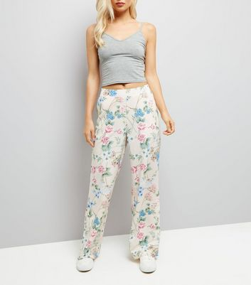 Shell Pink Floral Print Wide Leg Trousers