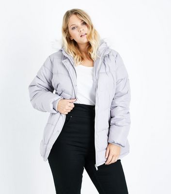 Curves Grey Hooded Puffer Jacket
