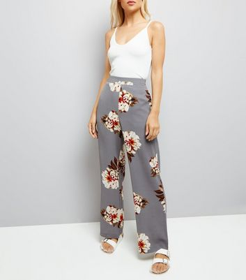 Grey Floral Print Wide Leg Trousers