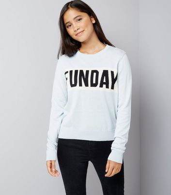 Teens Pale Blue Funday Slogan Jumper