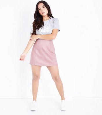 Petite Pink Suedette A-Line Mini Skirt