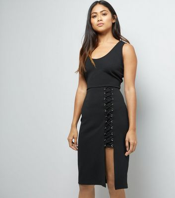 Petite Black Lace Up Skirt Bodycon Dress