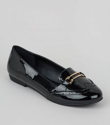 Wide Fit - Mocassins style Richelieu noirs vernis