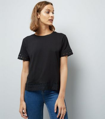 Black Floral Mesh Lace Trim T-Shirt
