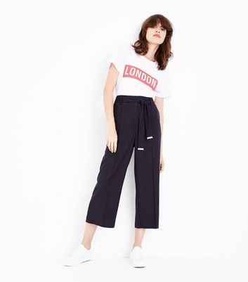 Navy Pinstripe Cropped Trousers