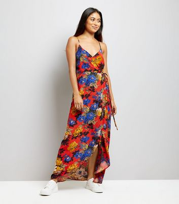 Petite Orange Floral Print Wrap Front Maxi Dress