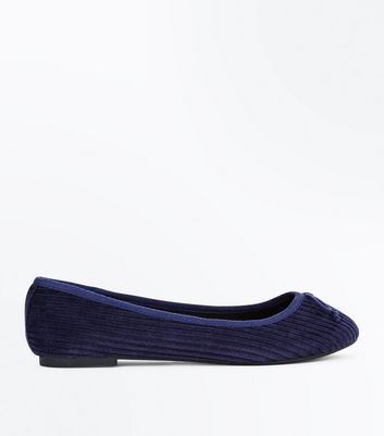 Wide Fit Blue Cord Ballet Pumps