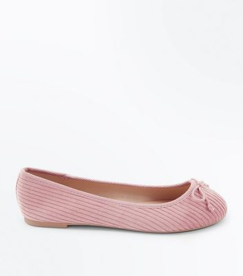 Wide Fit Pink Cord Ballet Pumps