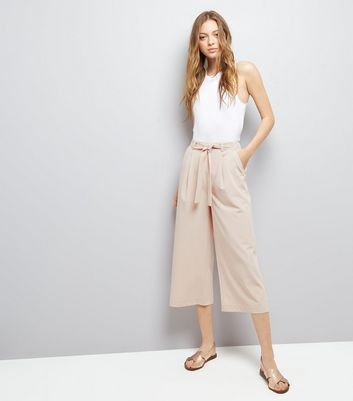 Shell Pink Tie Waist Cropped Trousers