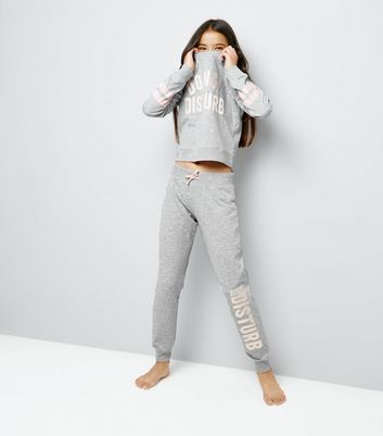 Teens Grey Do Not Disturb Pyjama Set