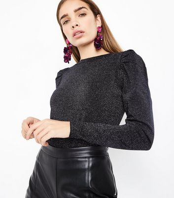 Black Glitter Puff Sleeve Jumper
