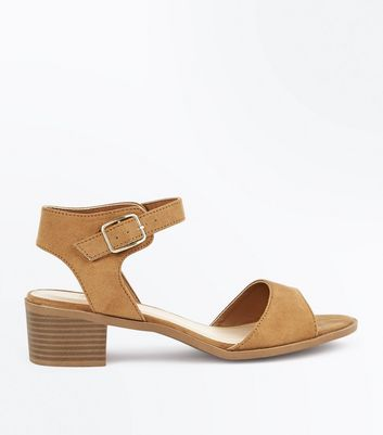 Wide Fit Tan Suedette Block Heel Sandals