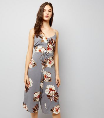 Cameo Rose Light Grey Floral Print Jumpsuit