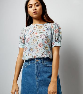 Petite Blue Floral Print Puff Sleeve Blouse