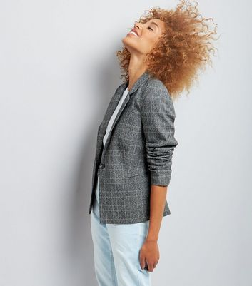 Dark Grey Check Button Front Blazer