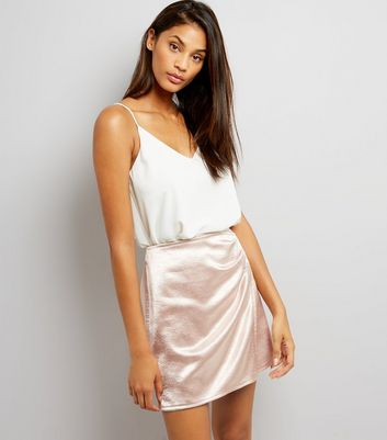 Rose Gold Metallic Ruched Side Mini Skirt
