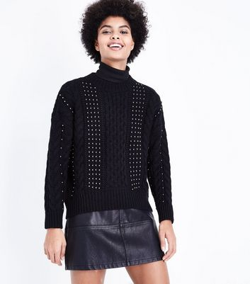 Black Beaded Cable Knit Jumper