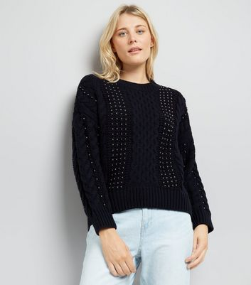 Navy Beaded Cable Knit Jumper