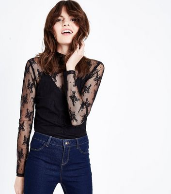 Black Lace Funnel Neck Top
