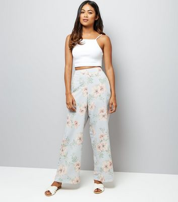Petite Pale Grey Floral Print Wide Leg Trousers