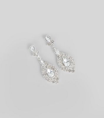Silver Crystal Embellished Teardrop Earrings