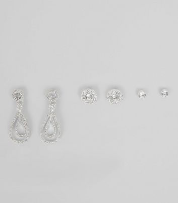 3 Pack Silver Crystal Diamanté Earrings
