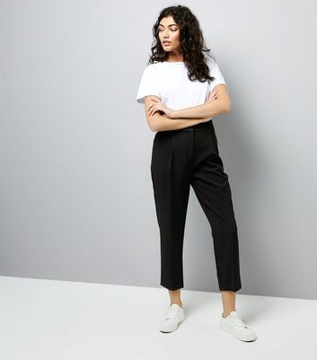 Black High Waist Tailored Trousers