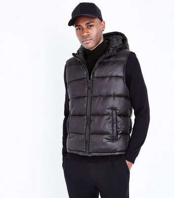 Black Hooded Puffer Gillet