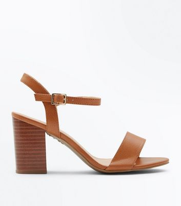 Wide Fit Tan Wooden Heeled Sandals