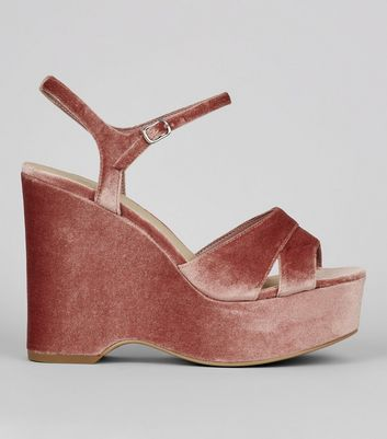 Wide Fit Nude Pink Velvet Platform Wedge Heels