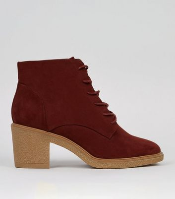 Dark Red Suedette Lace Up Boots