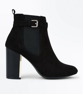 Black Suedette Metallic Trim Heeled Boots