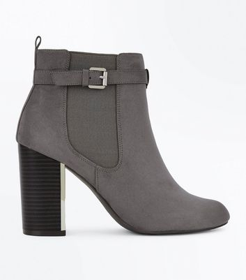 Grey Suedette Metal Trim Heeled Boots