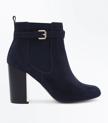 Navy Suedette Metal Trim Heeled Boots